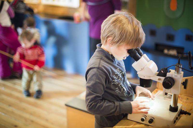 Foto av en gutt som ser i en lupe (Foto/Photo)