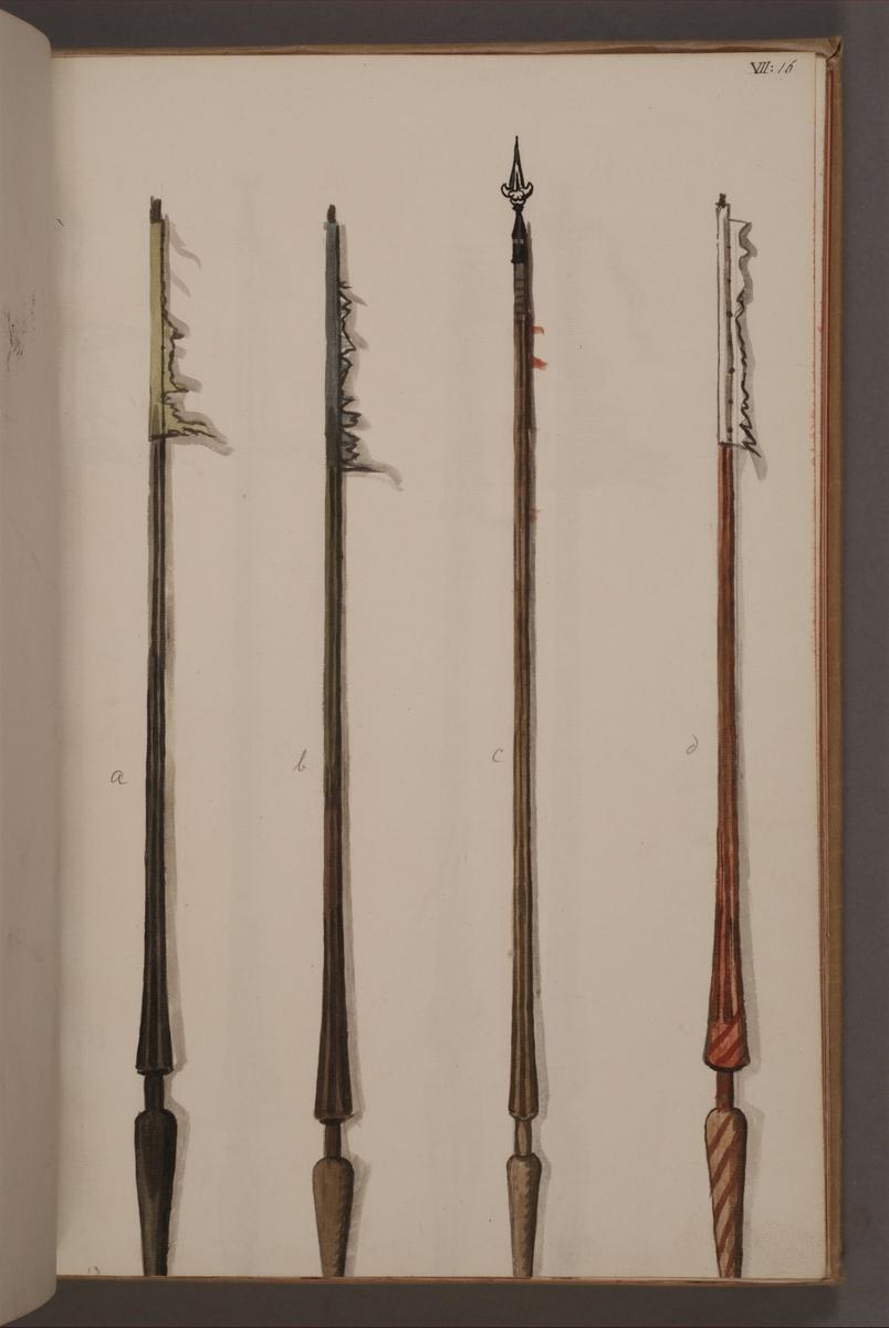 Avbildning i gouache föreställande standarstänger tagna som troféer av svenska armén. De avbildade stängerna finns inte bevarade i Armémuseums samling.