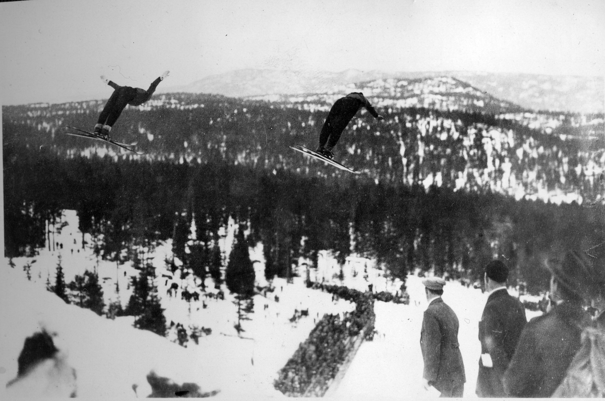 Kongsberg skiers Sigmund and Birger Ruud doing a double act in Hannibalbakkken 1929