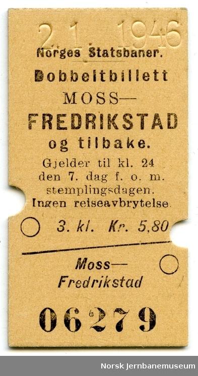 Dobbeltbillett Moss-Fredrikstad og tilbake, 3. kl.