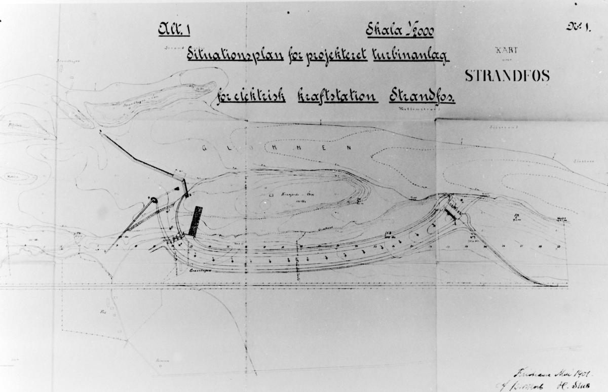 Kart. 1901. Situasjonsplan for prosjektert turbinanlegg for elektrisk kraftstasjon Stranfos. Hamar Vang og Furnes kommunale kraftselskap.