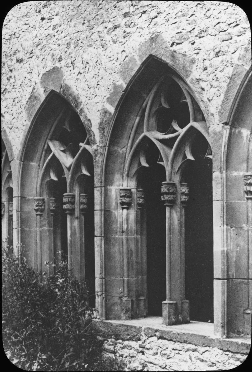 """Skioptikonbild med motiv fönster till Stiftskirche St. Peter, Wimpfen. Bilden har förvarats i kartong märkt: Resan 1908. Heilbronn 4. Wimpfen 5.. Text på bild: """"Wimpfen im Tal. Ritterstiftkirche St. Peter"""""""
