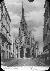 Skioptikonbild med tryckt bild av Église St. Maclou i Rouen.
