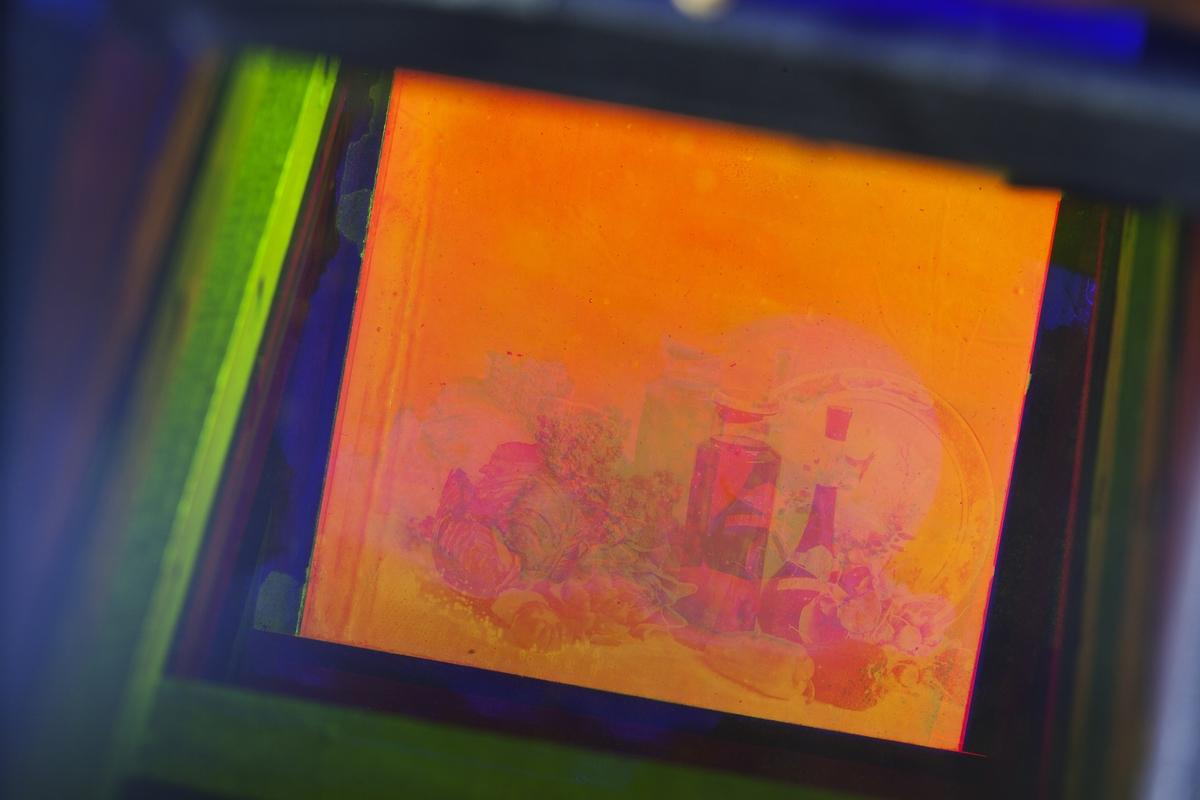 """Chromoskop för betraktning av färgbilder, """"trefärgsfoto"""". Märkt: """"Prof Dr Miethes Betrachtungs-Apparat"""""""