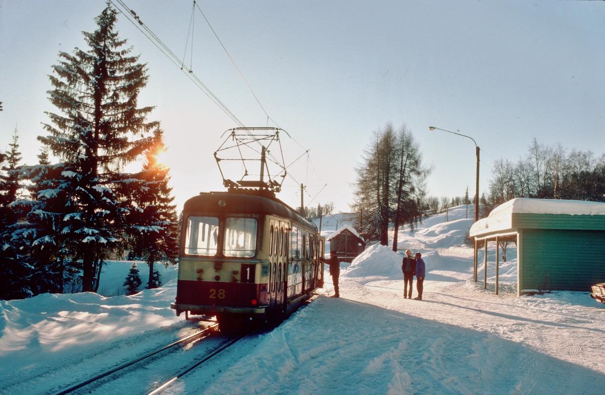 Lian holdeplass i vintersol. Trondheim Sporvei vogn 28.