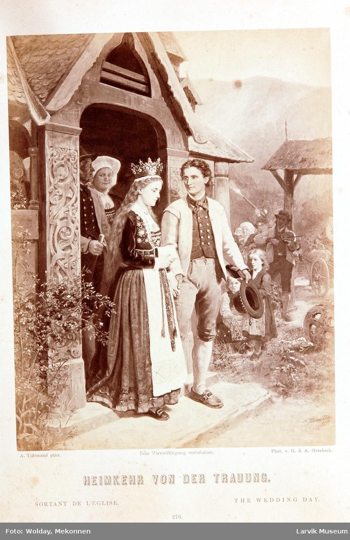 nygift par på vei ut av kirken, bondebryllup spillemann m/ fele fotografisk trykk av maleri av A.Tidemand 1870