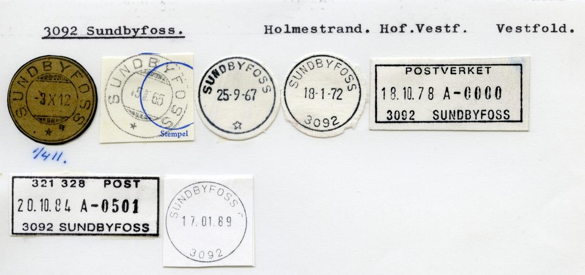 Stempelkatalog  3092 Sundbyfoss, Hof kommune, Vestfold