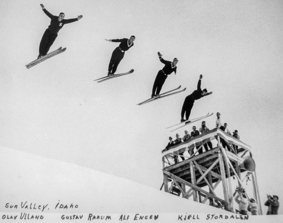 Four Norwegian ski jumpers in Sun Valley, Idaho: Olav Ulland, Gustav Raaum, Alf Engen, Kjell Stordalen