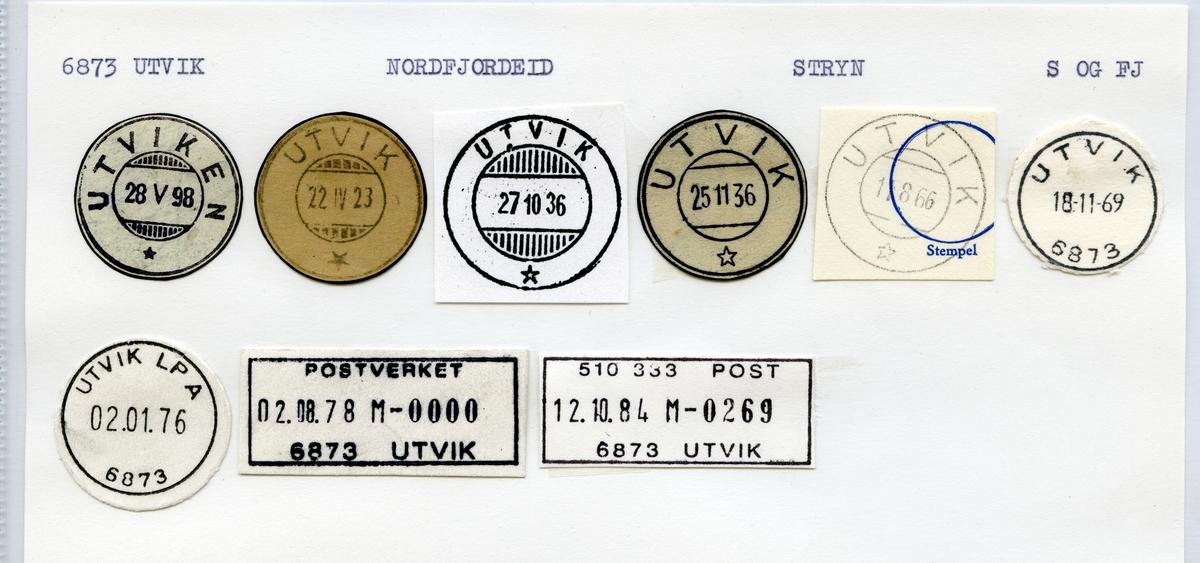 Stempelkatalog 6873 Utvik (Utviken), Nordfjordeid, Stryn, Sogn og Fjoerdane