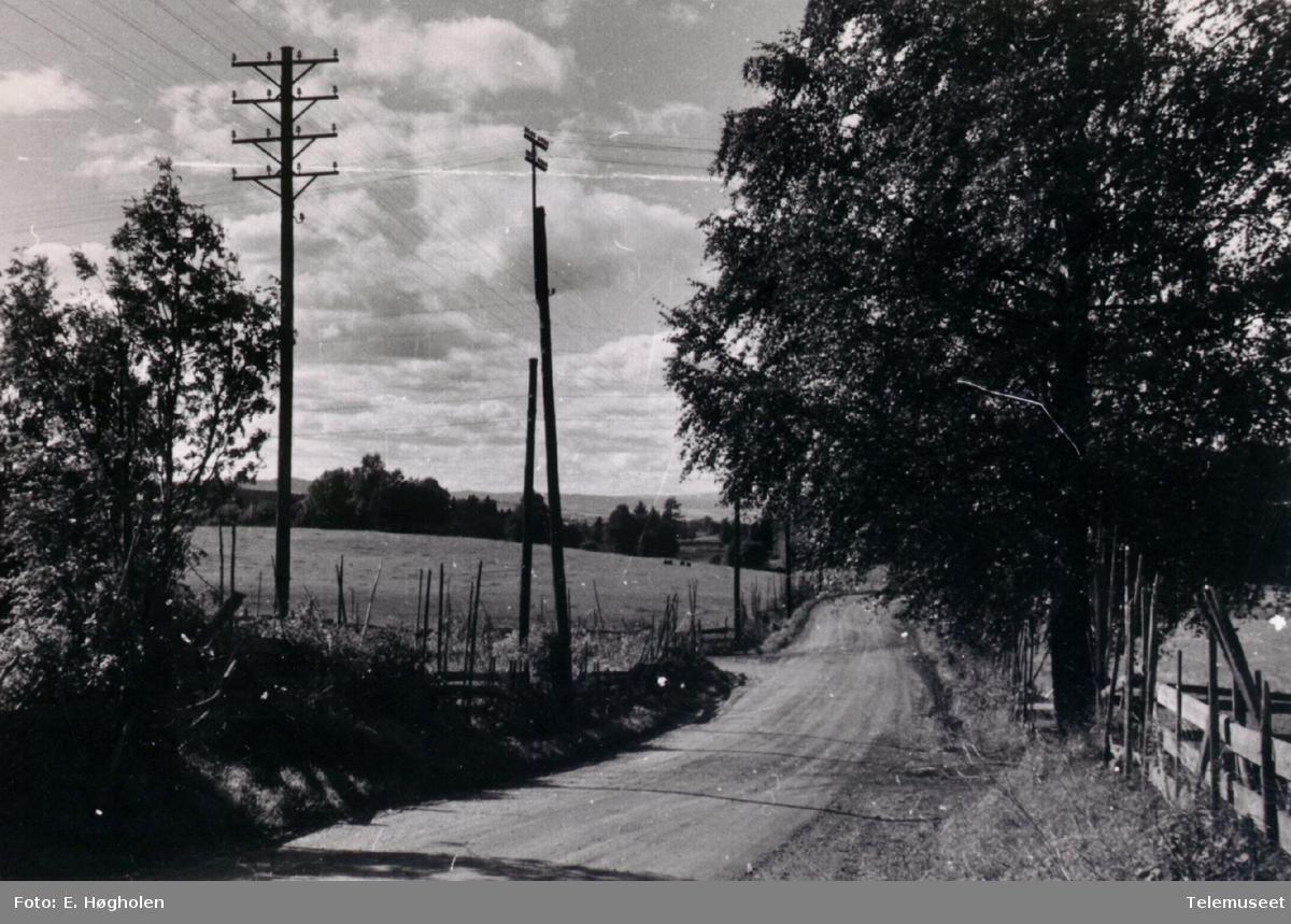Linjekurser som krysser ved Hanum i Vang.