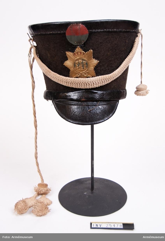 Grupp C I. Tschakå m/1815 för manskap vid indelt infanteri, Västmanlands regemente.