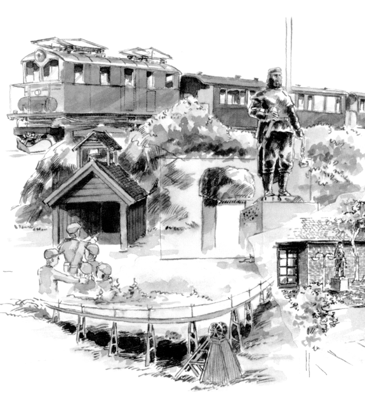 Tegning av ulike severdigheter og opplevelser ved Orkla Industrimuseum på Løkken Verk (Foto/Photo)