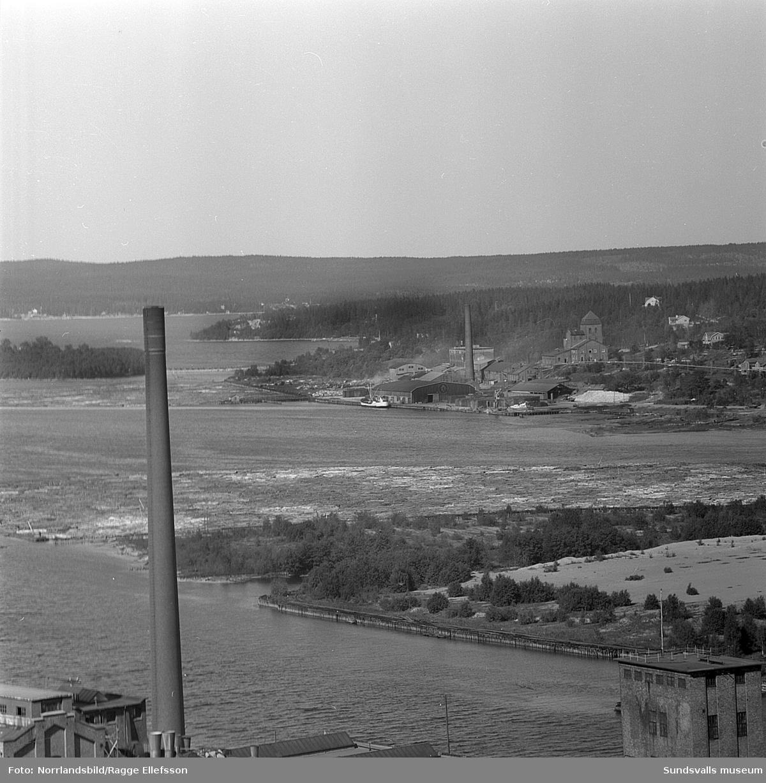 Nyhamns kemiska fabrik fotograferad från Nolbykullen.