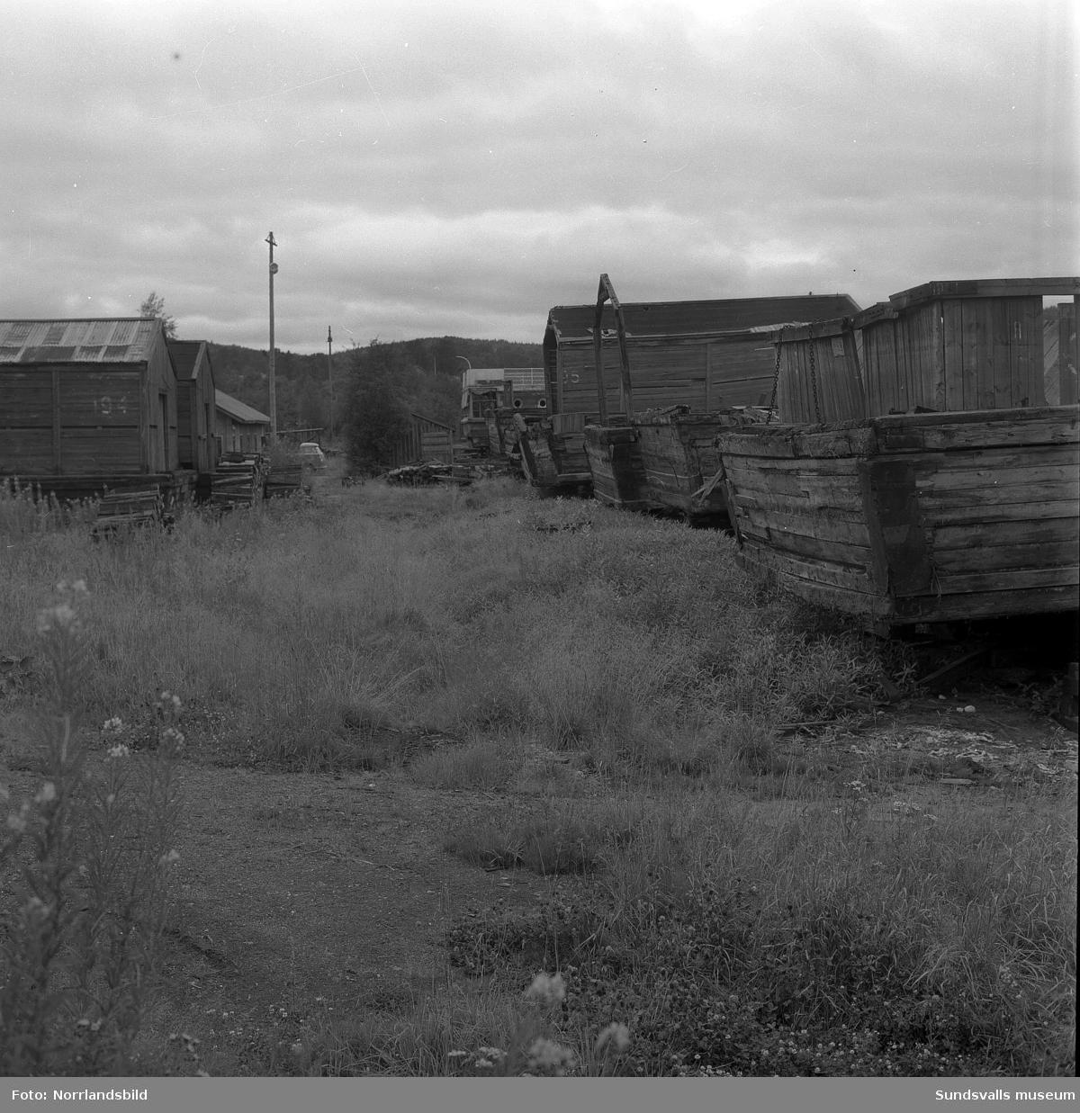 Gamla pråmar som tidigare gjort tjänst vid Skönviks sågverk. Vissa förfaller på land och andra är på väg att sjunka till botten i viken.