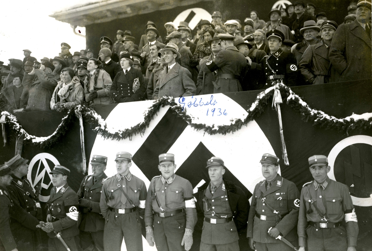 Propaganda minister Joseph Goebbels and others on the grand stand