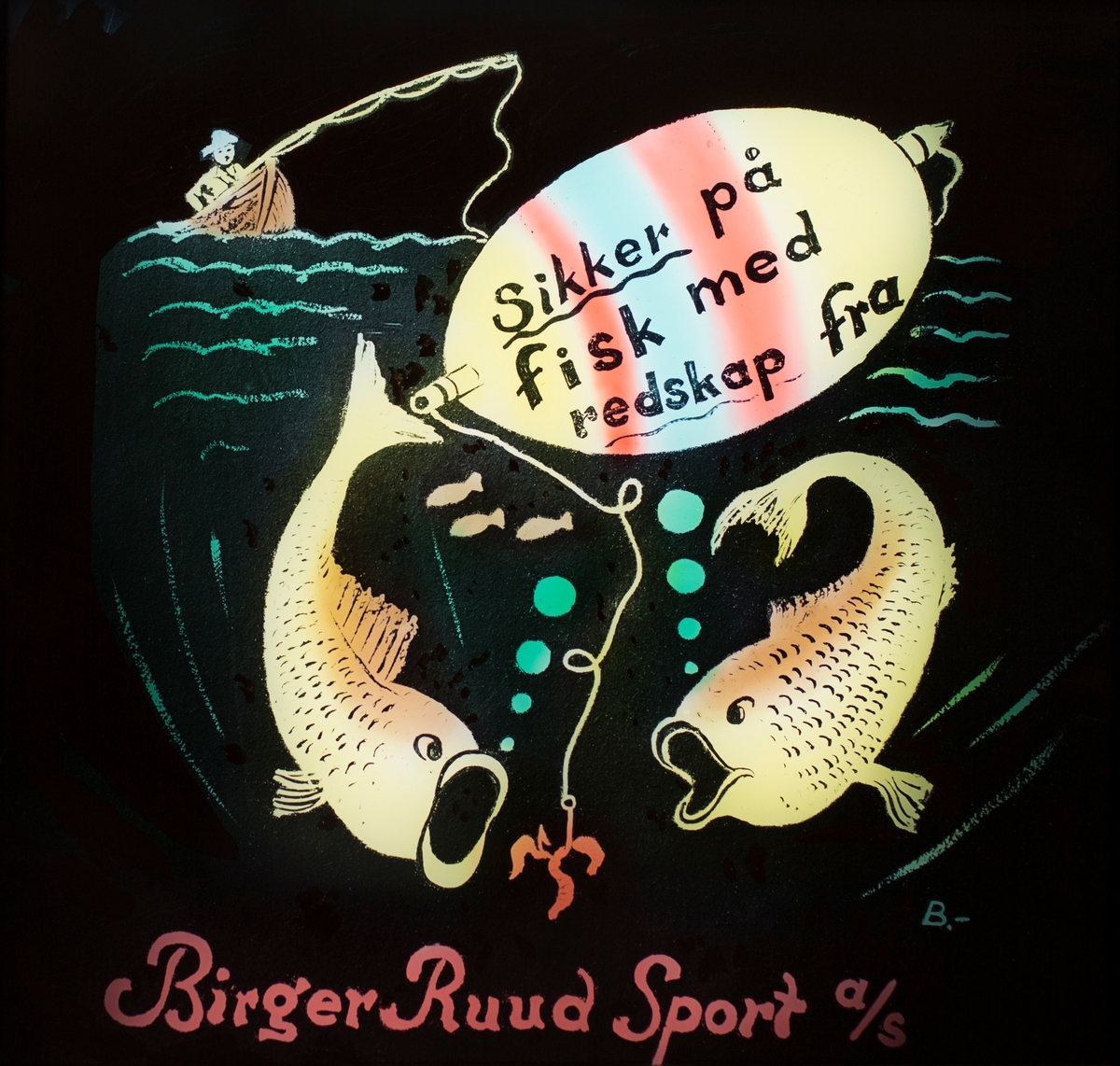 Slides promoting Birger Ruud's sports shop