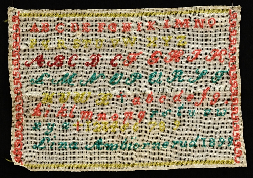 Bokstaver og tall. Alfabetet- Lina  Ambjørnrud 1899