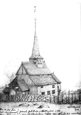 Gol stavkirke før flytting til Bygdøy. Tegning av Hans Gude 1846.