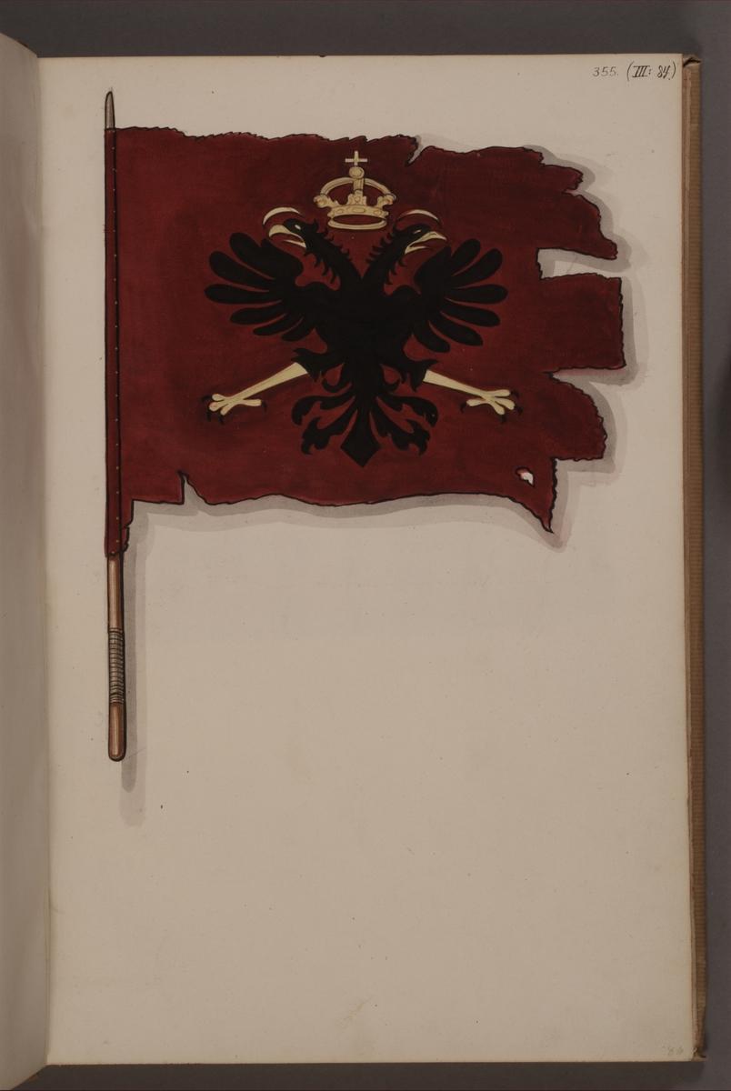 Avbildning i gouache föreställande fana tagen som trofé av svenska armén. Den avbildade fanan finns inte bevarad i Armémuseums samling.
