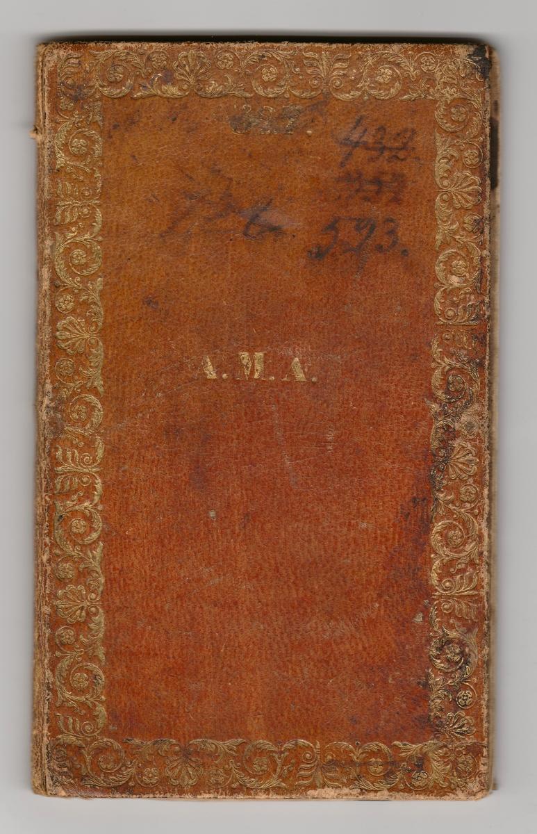 Lysebrun notisbok med gulldekor. Boken har flere registreringsnummer som er overstrøket, 432, 352, 523. Det ser ut til at det originale registreringsnummeret har vært 128. På bokens sider er det notert datoer for visitt med politilegens signatur.