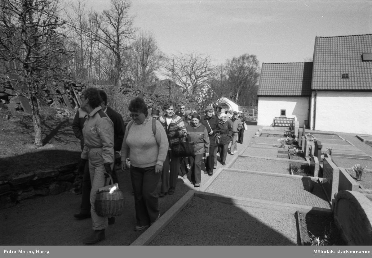"""Kållereds hembygdsgille anordnar sockenvandring i området vid Kållereds kyrka, år 1984. """"Hembygdsgillet i Kållered på sockenvandring vid kyrkan på kullen.""""  För mer information om bilden se under tilläggsinformation."""