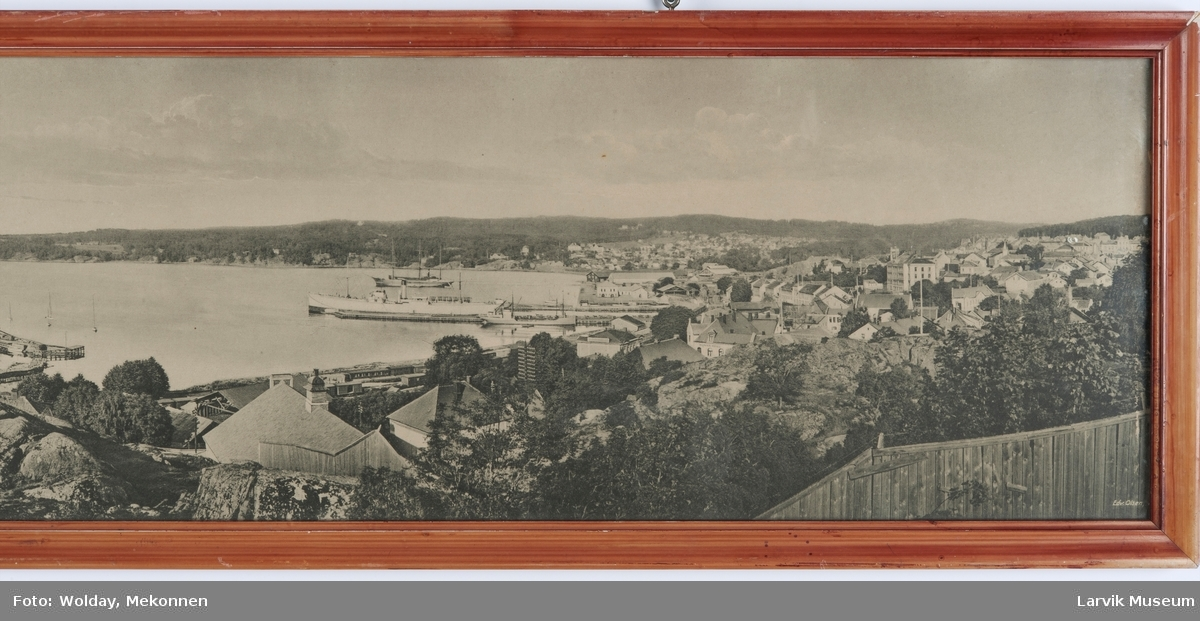 Panoramabilde over Larvik by og havn.