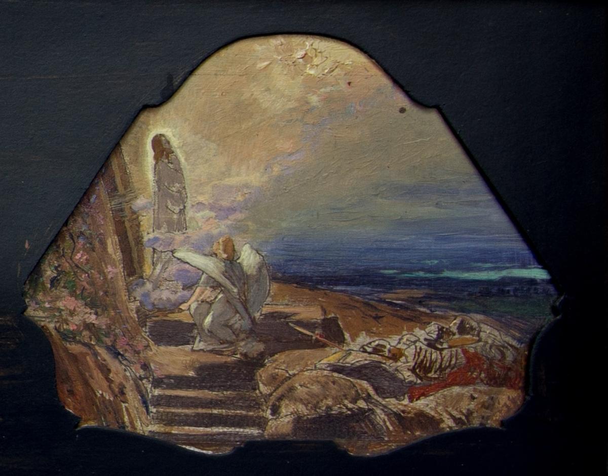 Målning indelad i fyra fält, från vänster till höger:Konungarnas tillbedjan, Jesu dop, På Golgata och Uppståndelsen.