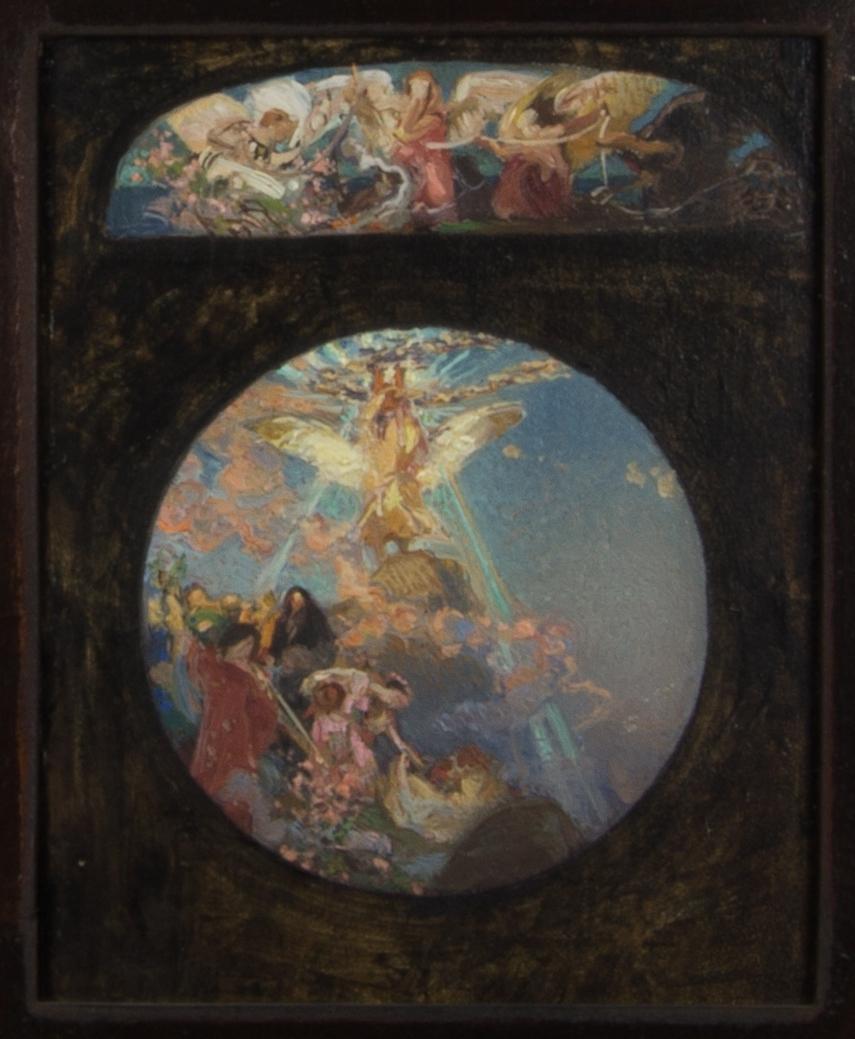 Färgskiss, mycket skissartat utförd. Apollo och sånggudinnorna avbildade i en rundel mot blå himmel. Ovanför rundeln en lunettformad färgskiss med ödesgudinnorna.