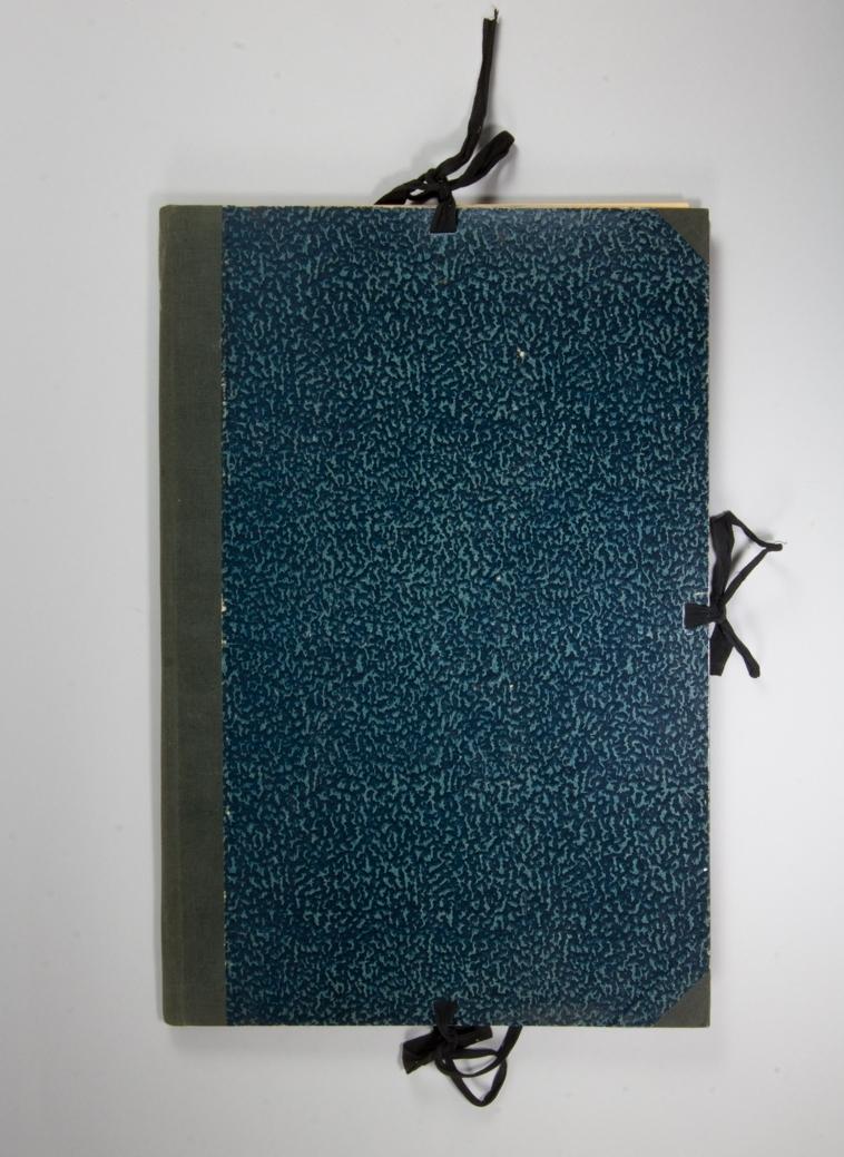 Portfölj, stående rektangulär av papp med blåmarmorerat omslag. Knytband på tre sidor av svart bomullsband. Rygg av blå textil. Pärmarnas insidor har tryckt småblommigt mönster i grönt. Mellan pärmarna pappskivor och olika nummer av tidningen Socialdemokraten och Svenska dagbladet 1910-1911. Har ursprungligen innehållit skisser med mera.
