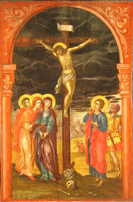 Kristus på korset. Två måln.inom en ram,se NMI 84. Italo-byz.måleri