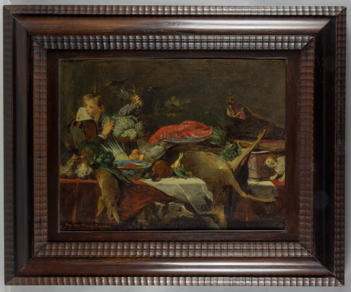Stilleben, interiör, med en ung man som håller i vindruvsklasar. På borden en mångfald av grönsaker och döda djur som rådjur, vildsvin, hare, fasan med flera. I centrum en stor röd hummer på ett blått fajansfat. I förgrunden en jakthund och till höger en katt.