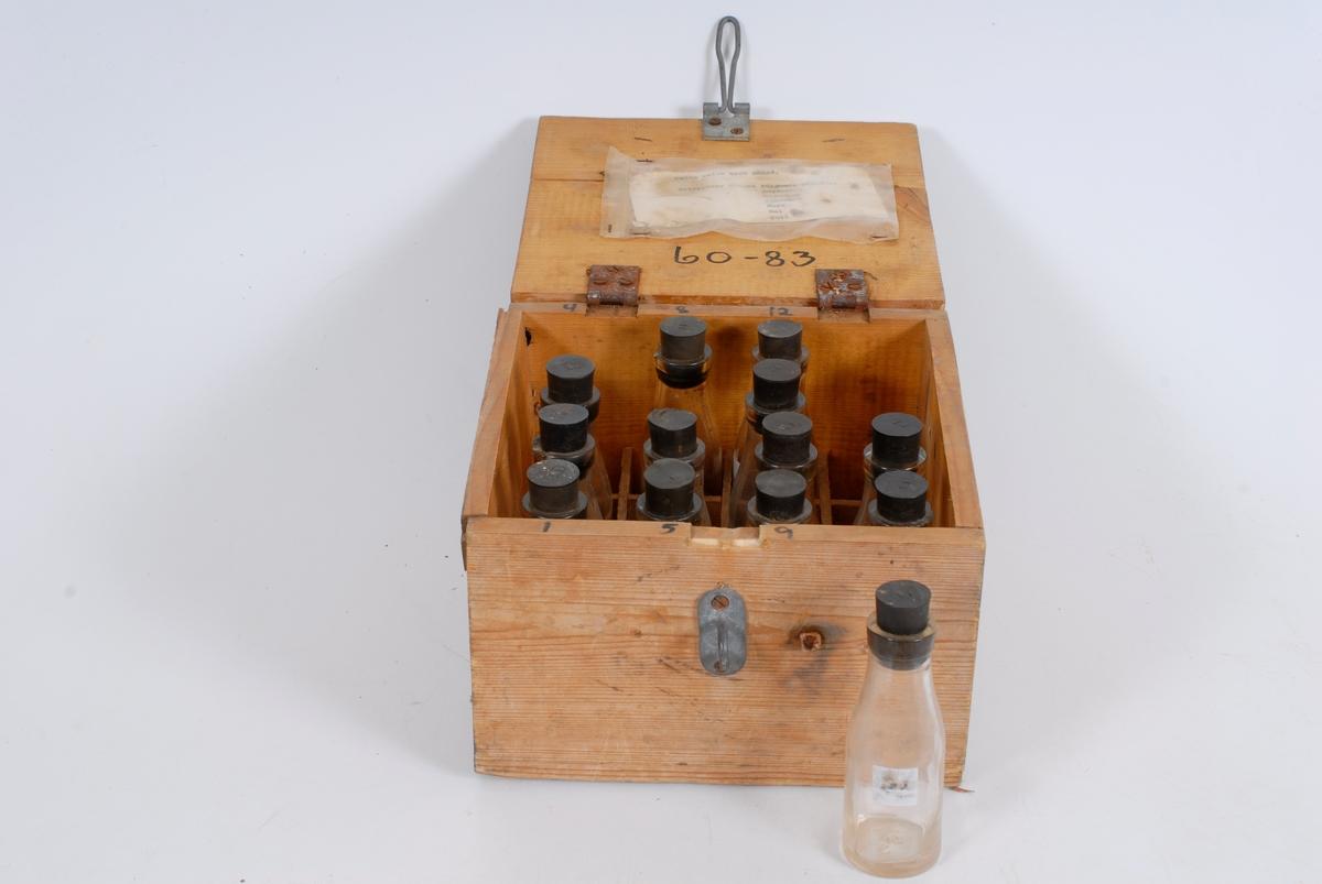 Form: tilnærmet kvadratisk kasse med 13 små glassflasker i, flaskene har gummikork og nr.
