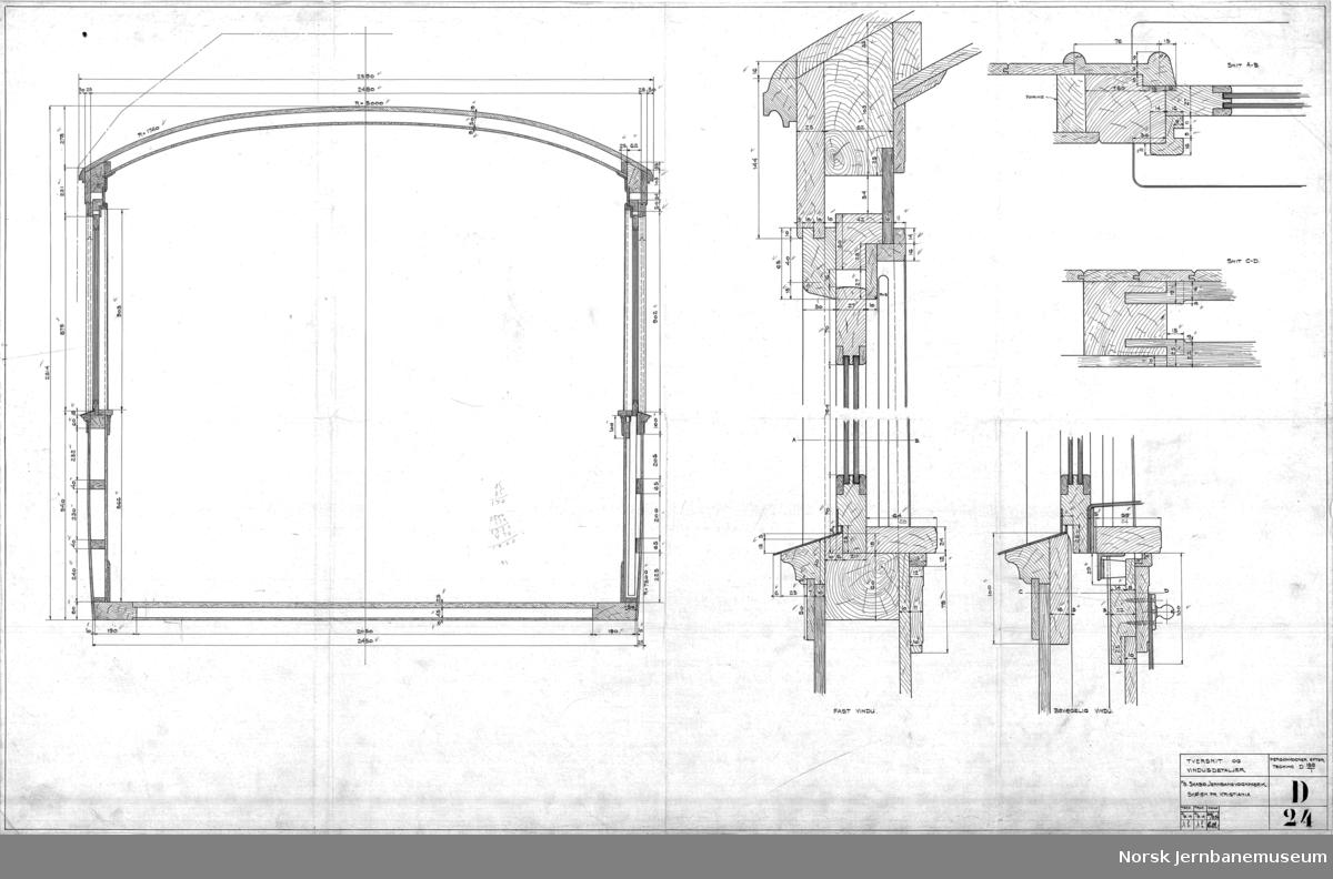 Personvogne efter tegning D188/1 - tversnit og vindusdetaljer  Tegningen gjelder Sulitjelmabanens vogn litra ACo nr. 1 og CFo nr. 2 - tilpasninger i forhold til Thamshavnbanens lignende vogner