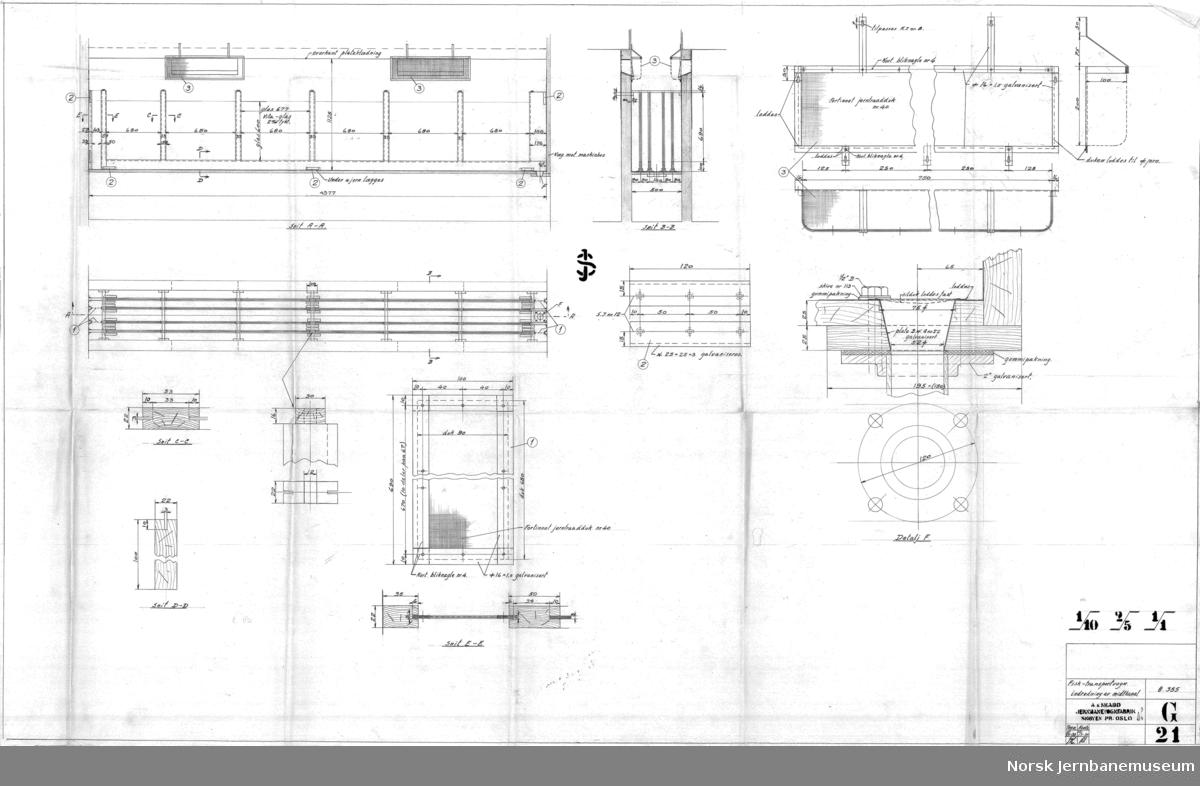 Fisk-transportvogn  G018 - Hovedtegning G019 - Fisk-kasse og maskinhus G020 - Tømmeluke og beslag G021 - Indredning av midtkanal G022 - Indredning av 1 km G023 - Befæstigelse til understilling