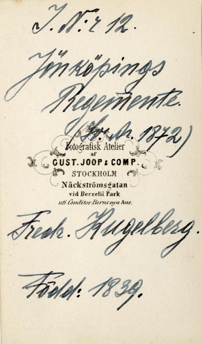 Porträtt av Fredrik Kugelberg, löjtnant vid Jönköpings regemente I 12. Se även bild AMA.0005580, AMA.0007736, AMA.0007801 och AMA.0021800.