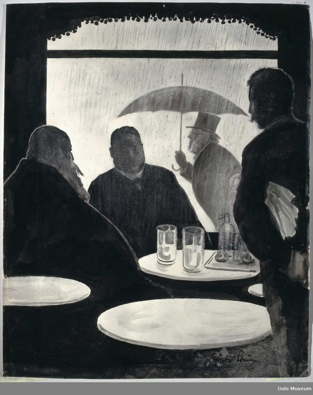 karikatur, menn, sittende ved restaurantbord, glass/seidel på bord, utenfor mann med paraply.