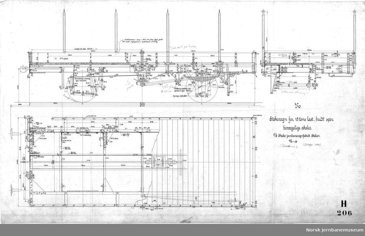 Stakevogn for 15 tons last, bredt spor, bevægelige aksler (Tinnosbanen)