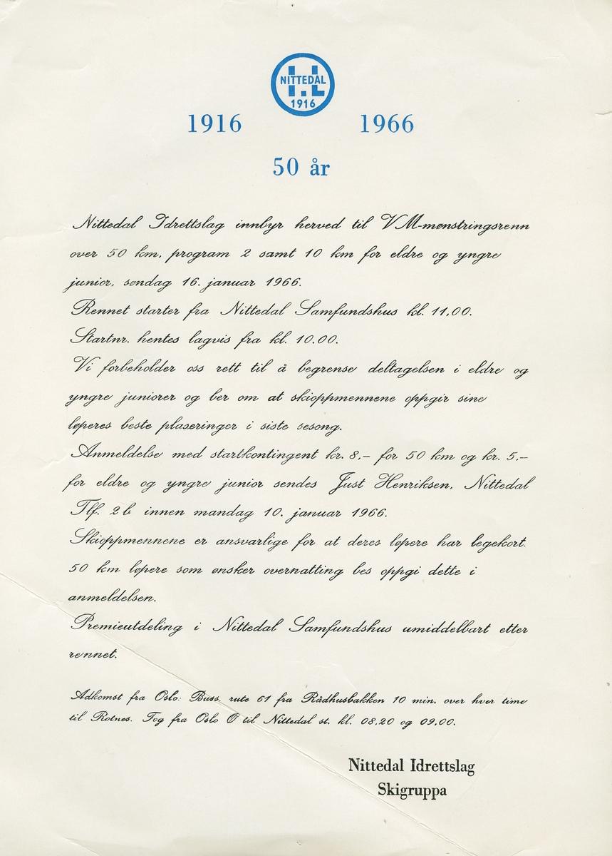 Invitasjon fra Nittedal IL til VM-mønstringsrenn i 1966. NIL var 50 år Skigruppa Nittedal IL