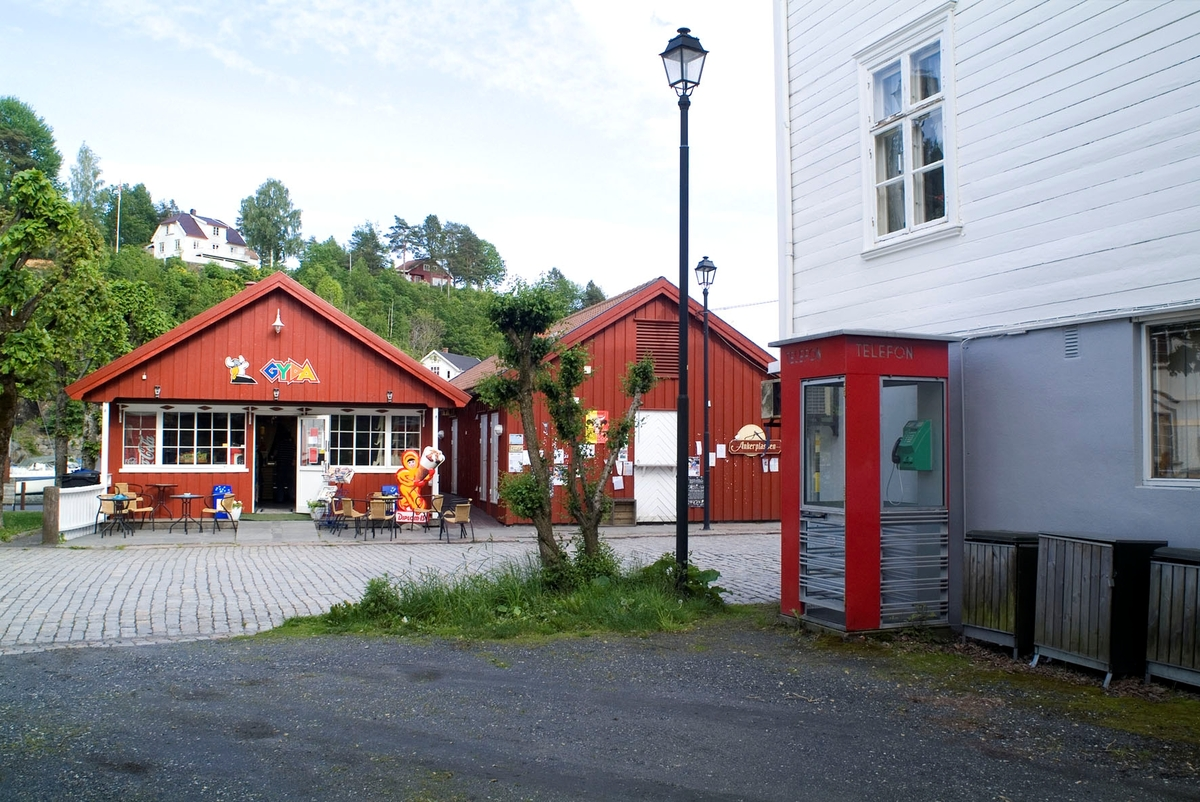 Denne telefonkiosken, som står på Nedre Torv i Tvedestrand, er en av de 100 vernede telefonkioskene i Norge. De røde telefonkioskene ble laget av hovedverkstedet til Telenor (Telegrafverket, Televerket). Målene er så å si uforandret. Vi har dessverre ikke hatt kapasitet til å gjøre grundige mål av hver enkelt kiosk som er vernet.  Blant annet er vekten og høyden på døra endret fra tegningene til hovedverkstedet fra 1933. Målene fra 1933 var: Høyde 2500 mm + sokkel på ca 70 mm Grunnflate 1000x1000 mm. Vekt 850 kg. Mange av oss har minner knyttet til den lille røde bygningen. Historien om telefonkiosken er på mange måter historien om oss.  Derfor ble 100 av de røde telefonkioskene rundt om i landet vernet i 1997. Dette er en av dem.