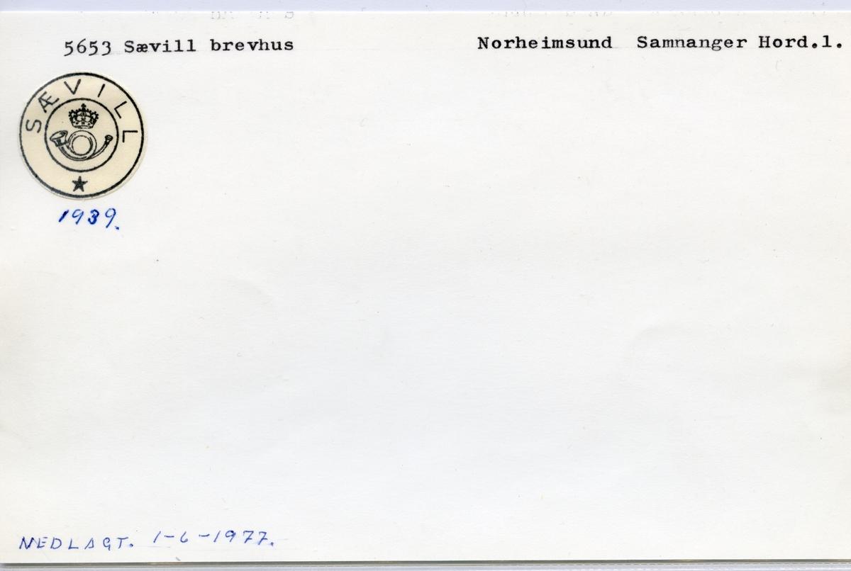 Stempelkatalog  5653 Sævill, Samnanger kommune, Hordaland