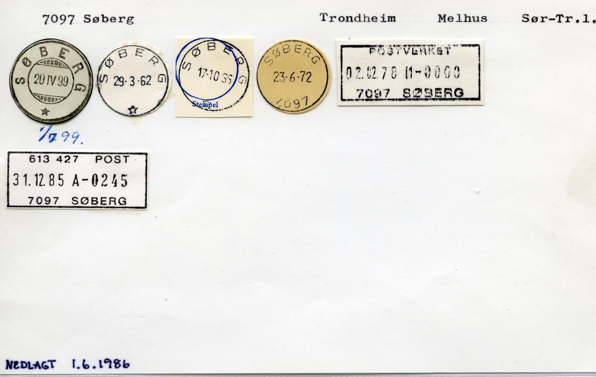Stempelkatalog  7097 Søberg, Melhus kommune, Sør- Trøndelag