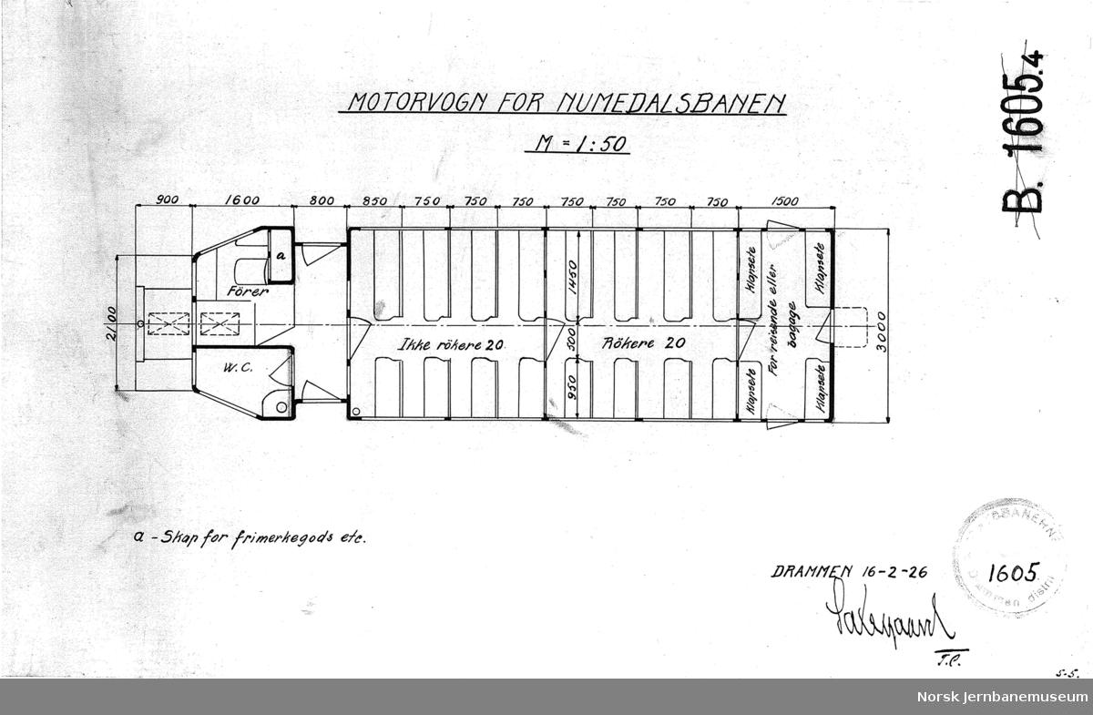 Motorvogn for Numedalsbanen - utkast
