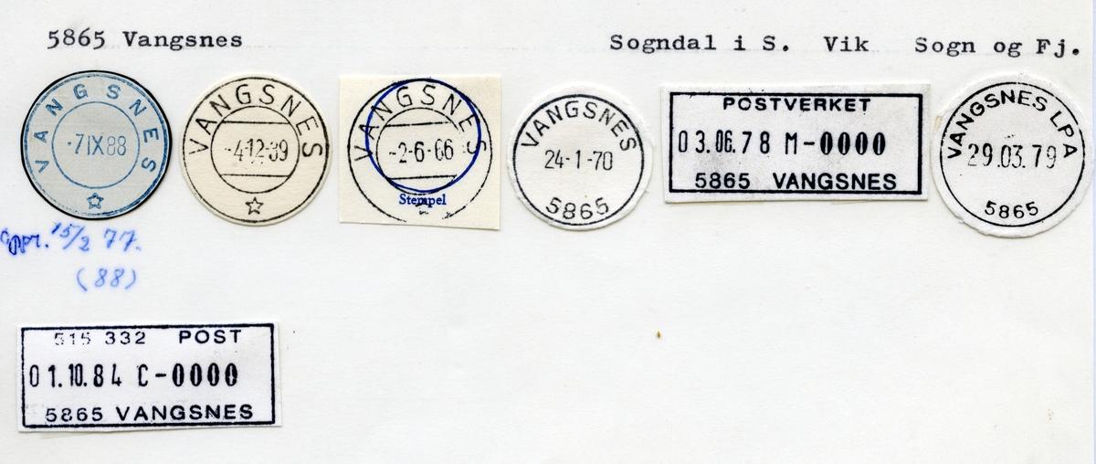 Stempelkatalog 5865 Vangsnes, Sogndal, Vik, Sogn og Fjordane