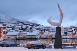 """Skulptur """"Boreas"""" (""""Nordenvinden""""). November 2015."""