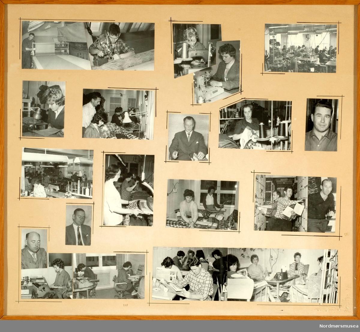 Fotomontasje fra Berserk fabrikker A/S på Kirkelandet i Kristiansund, hvor vi ser fra ulike arbeidssituasjoner ved bedriften. Se serie fra KMb-1998-010.0013_01 til KMb-1998-010.0013_20. Fotoene er trolig datert til 8. oktober 1960 etter de pålimte avisutklippene på baksiden av collaget å dømme. Lokalavisa Tidens Krav er derfor svært sannsynligvis fotograf av disse bildene. Fra Nordmøre museums fotosamlinger. eFR2015