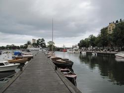 Vy från fiskehamnen mot Strömholmen i Västervik.
