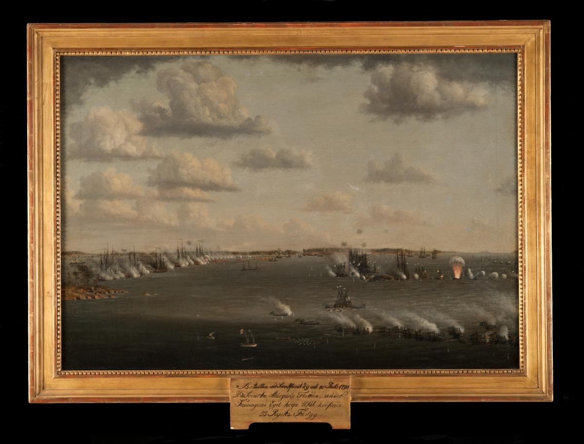 """""""Bataillen vid Svensksund d. 9 och 10 Julii 1790. Där Svenska Skärgårdsflottan, under Konungens Egit höga befäl äröfrade 55 Ryska Fartyg."""""""