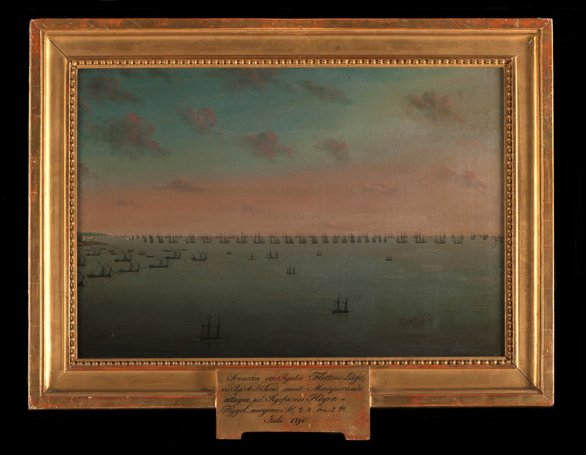 """""""Svenska och Ryska Flottan vid Björkösund samt marquerande Attaque på Ryssarnas Högra Flygel, morgonen kl 2-4 den 3 Juli 1790""""."""