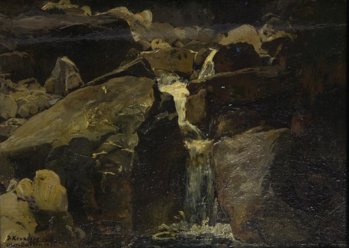 Klipplandskap. I centrum ett vattenfall mellan branta klippor. Runt omkring klippor och stenar.