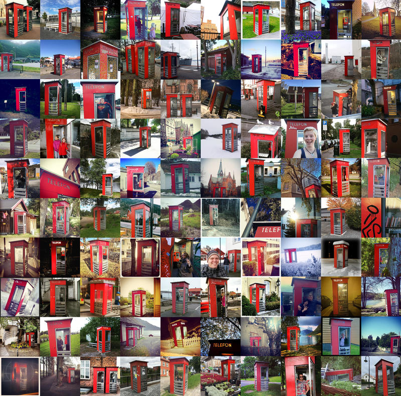 Røde telefonkiosker collage